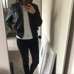 Zara black faux leather motor jacket